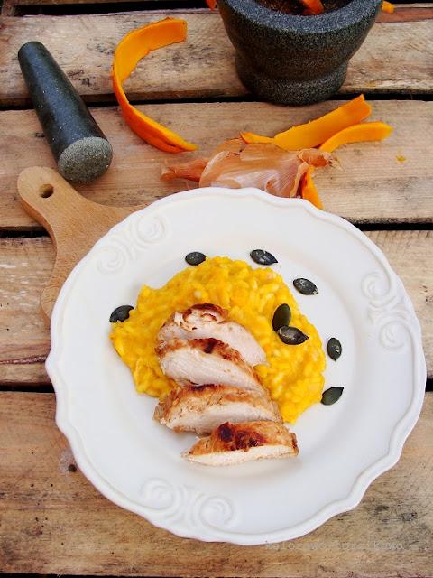 Kremowe risotto dyniowe z kurczakiem