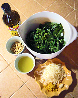Ingredients for Pesto Dressing Ready to Blend