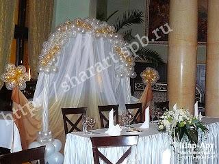 Оформление свадьбы воздушными шарами и тканями в бело-золотых тонах