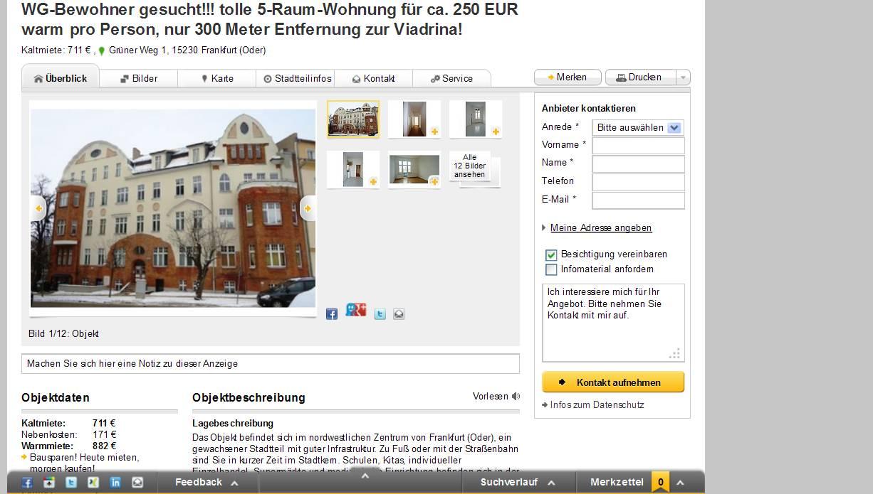 Raum Wohnung Frankfurt Oder