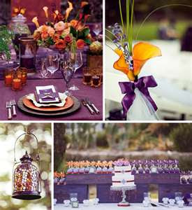 Wedding inspirations orange green and purple wedding - Violet and orange combination ...