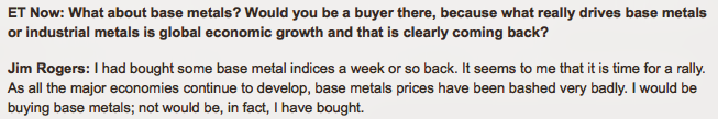Jim Rogers Bullish On Base Metals