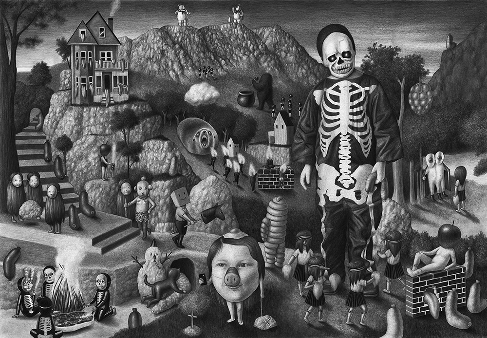 17-Skeleton-Amandine-Urruty-Surreal-Drawings-not-for-Children-www-designstack-co