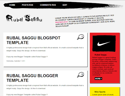 Rubal Saggu Blogger Theme