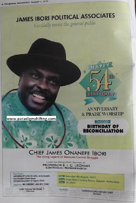 CAN, Associates to honour Ibori at 54- Show of shame billed for saturday