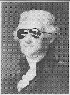 """Anonymous and created for Loompanics Unlimited, 1991, for my article, """"Did Thomas Jefferson Wear Mirrorshades? - or - Why is the Secret Service Busting Publishers?""""  I was inspired by the cyberpunk story, """"Mozart in Mirrorshades"""" by Bruce Sterling and Lewis Shiner (Omni, September 1985). I found this image shrunken to an avatar by a patriot named """"Fegeldolfy"""" on the Ron Paul Forums Liberty Forest."""