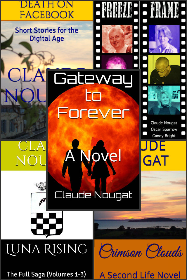 A COLLAGE of CLAUDE NOUGAT'S  BOOKS