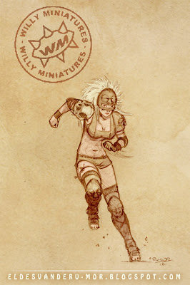 Concept art miniatura amazona Blood Bowl  ªRU-MOR WILLY Miniatures