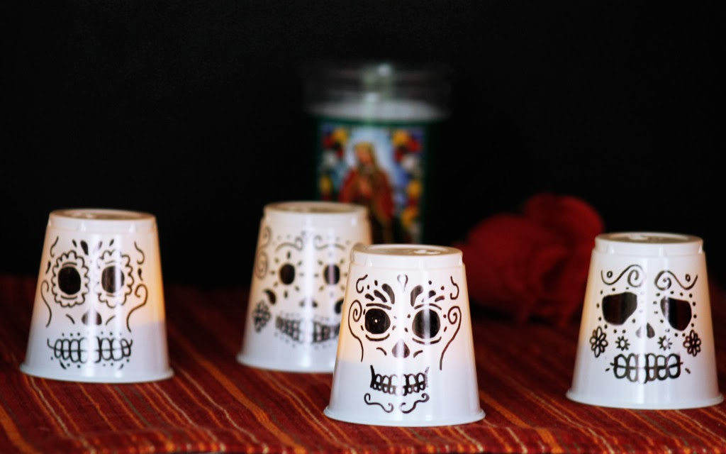 Dia de los muertos plastic cup lanterns munchkins and mayhem for Day of the dead arts and crafts