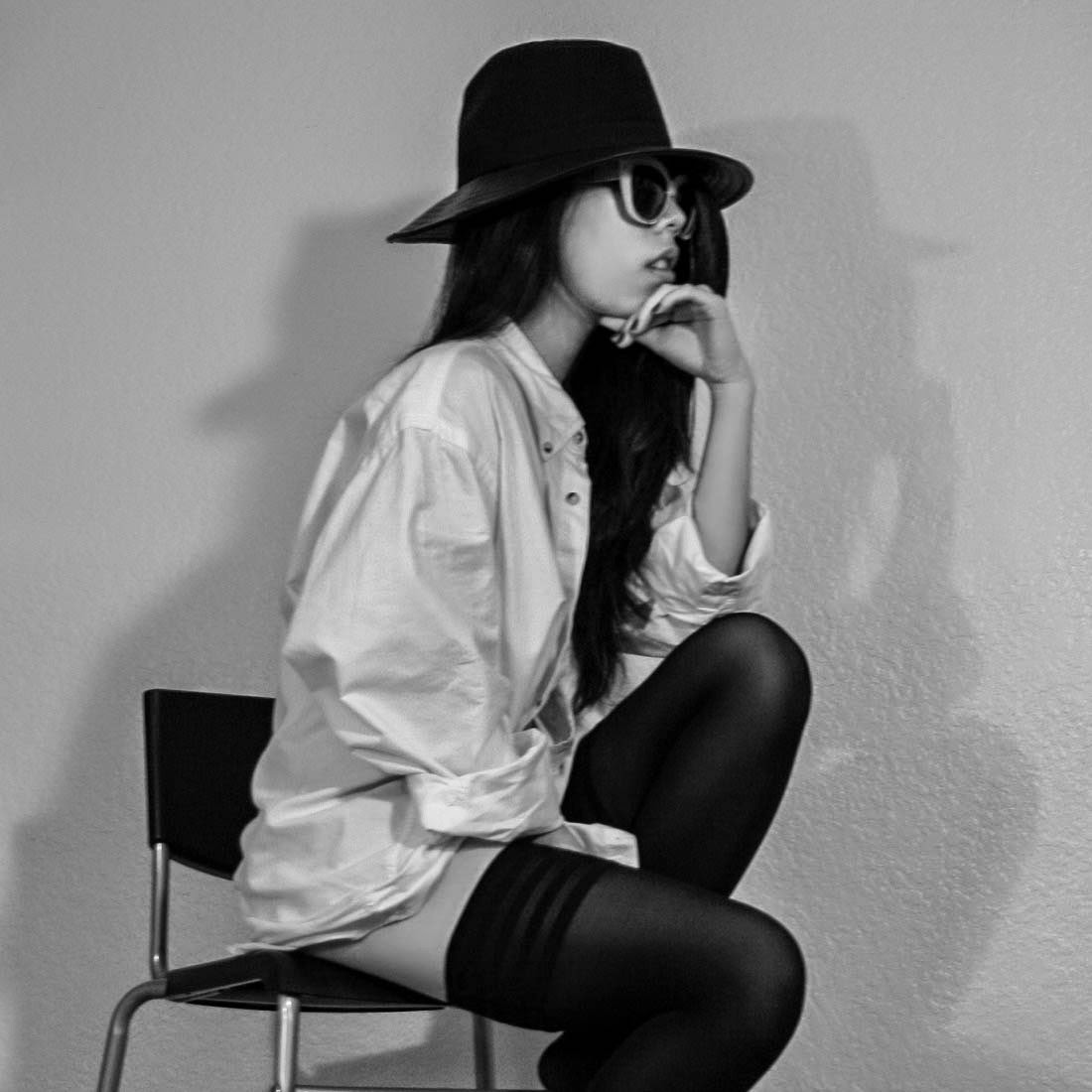white shirt with Wolford velvet de luxe 50 stay up tights and BCBGeneration Wool Fedora