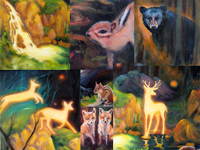 collage of many woodlawn animals from the painting, Black Bear, deer, fox, chipmunks