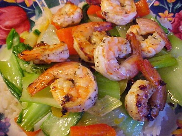 Crevettes aux herbes de Provence, à l'ail et au citron
