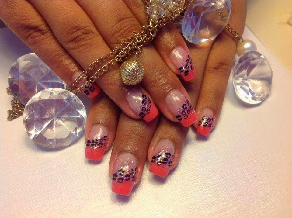 French nails with a mix of pink and silver black leopard print