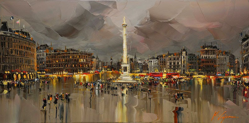 09-Trafalgar-Square-London-Kal-Gajoum-Paintings-of-Dream-Like Cities-of-the-World-www-designstack-co