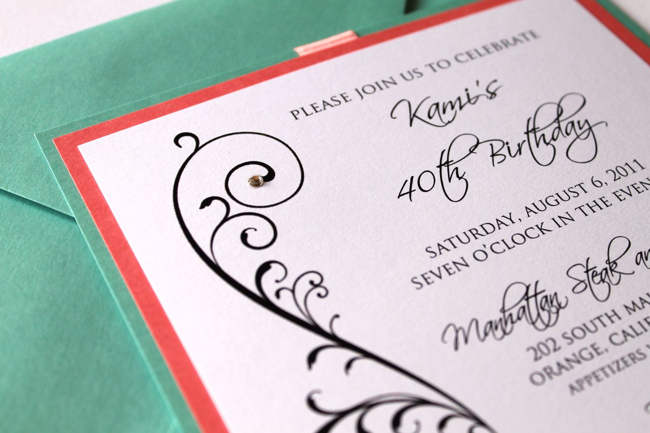 40th Birthday Invitation, Tiffany Blue and Coral - Embellished ...