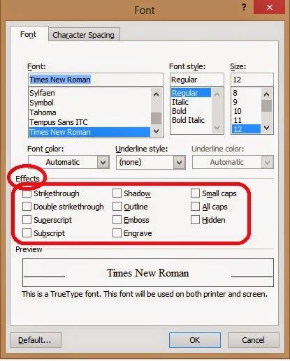 efek font pada dialog font