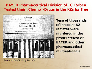 Bayer; Pharmaceutical Bivision; IG Farben; Bayer Patentd Drug 1034; Chemo Tested on Prisioners; Medicamentos; Patenteados; Medicamentos Patenteados da Bayer Foram Testados nos Prisioneiros; Auschwitz; Tribunal; Nuremberga