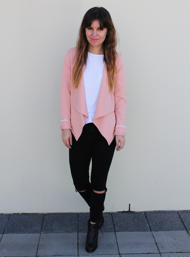 Sweet Monday, Outfit, Glamorous blazer, Asos broken knee skinny jeans