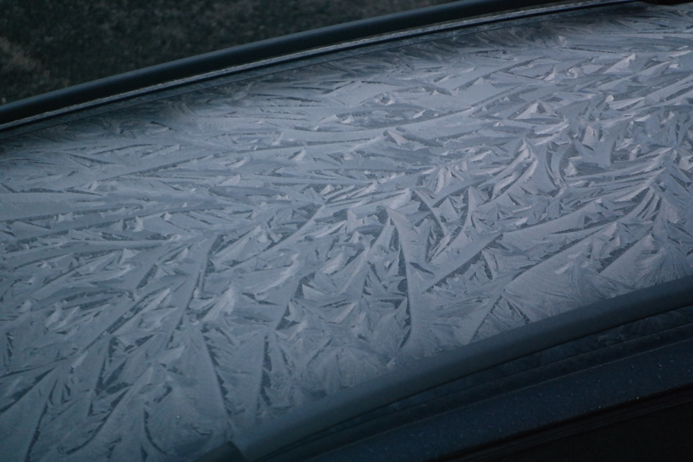 Frost on a car roof