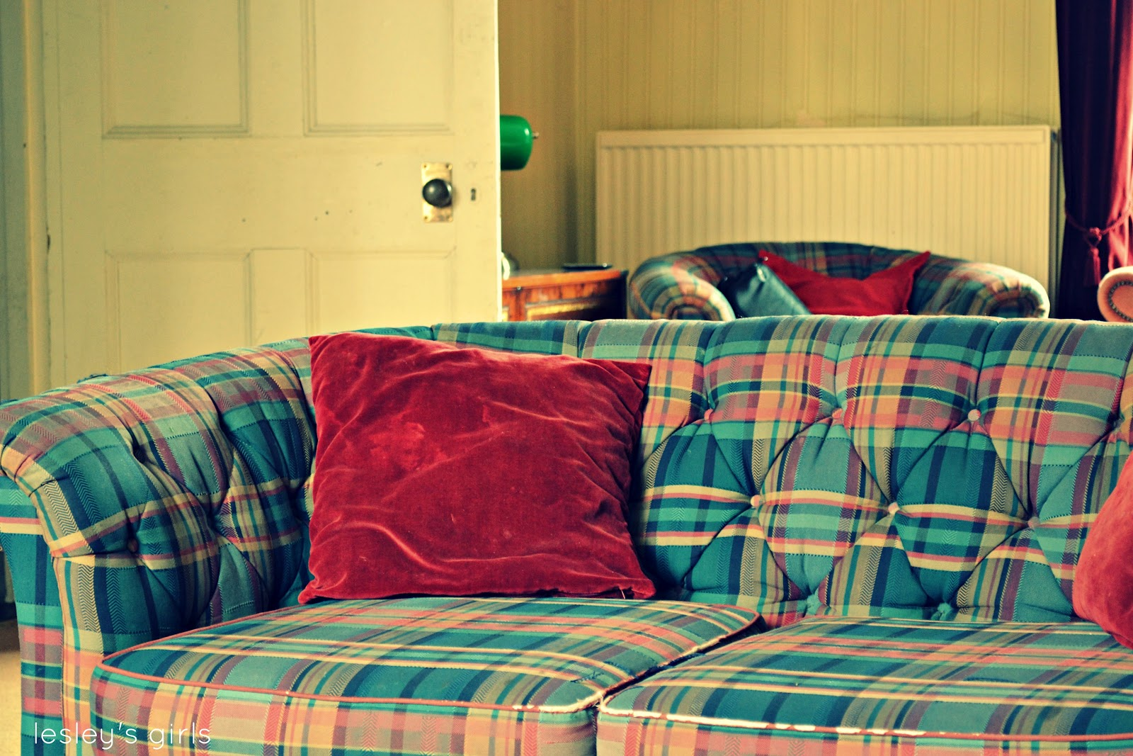 Reproduction Vintage Style Chesterfield Sofa And Armchair In Tartan From  Emmaus In Colchester For £30 For The Set (including A Footstool)