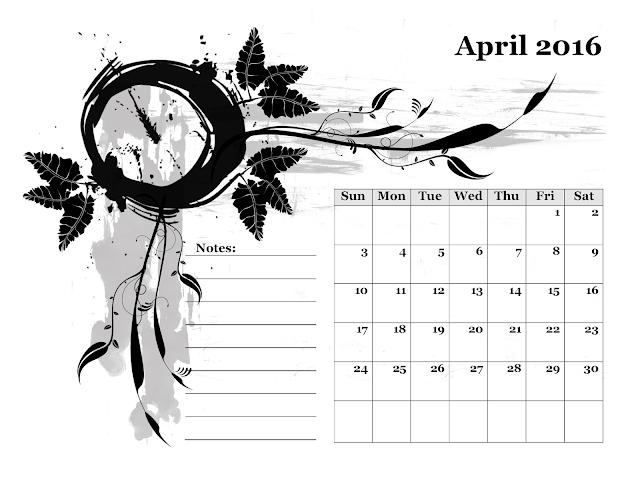 Calendario mensile - Aprile 2016