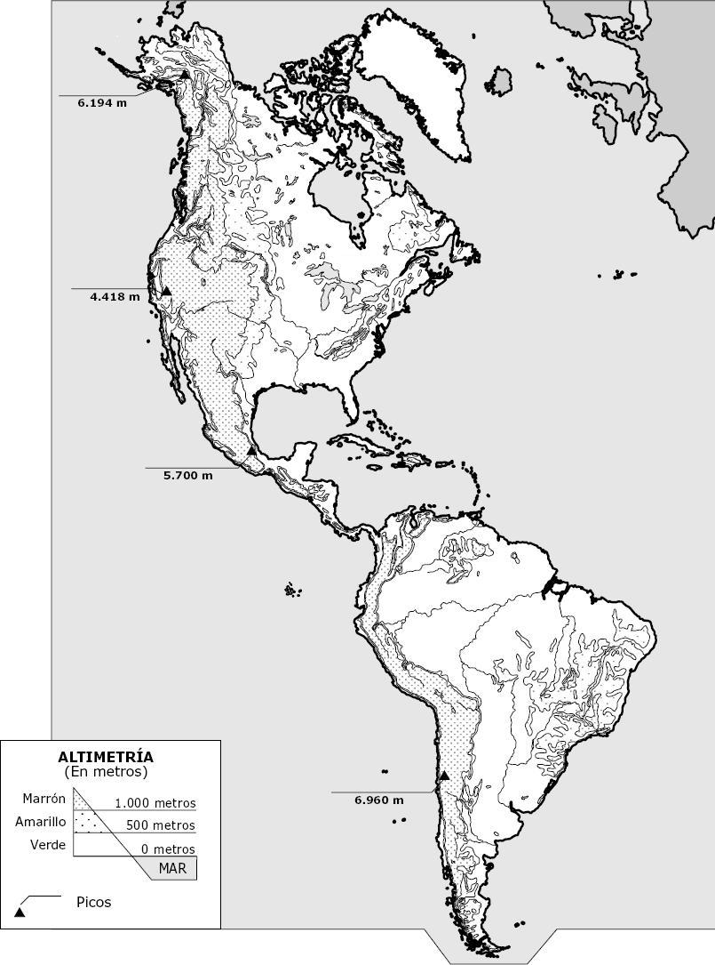 Mapa Mudo De America Fisico
