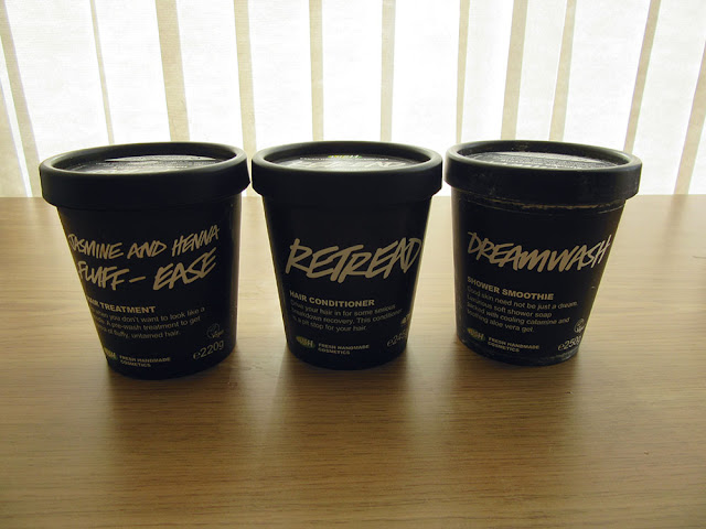 lush jasmine and henna fluff ease retread dreamwash empties