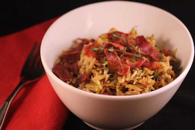 Brussels sprout and bacon orzo