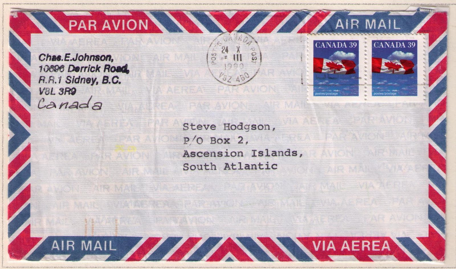 vancouver to ascension island october 24 1960 78 cents international letter rate