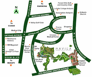 Mission Hills Antipolo at Havila Location Map