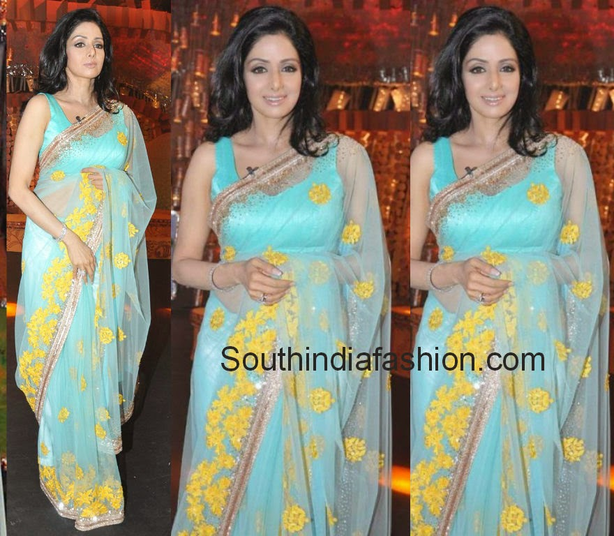 sridevi in blue sarees