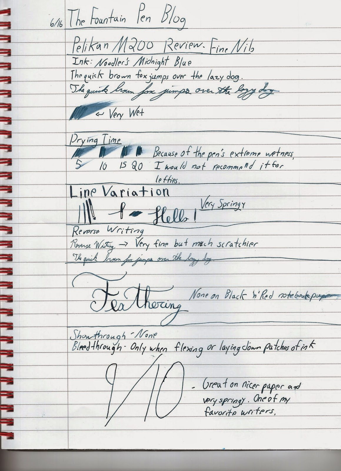 Pelikan M200 Writing Sample with Noodler's Midnight Blue