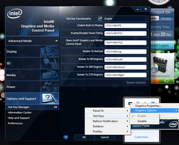Intel R HD Options