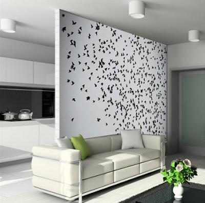 kus+surusu+motifli+duvar+sticker+modeli Evinize Duvar Sticker Modelleriyle Renk Katın