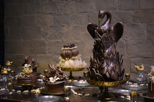 Chocolate swan table decoration