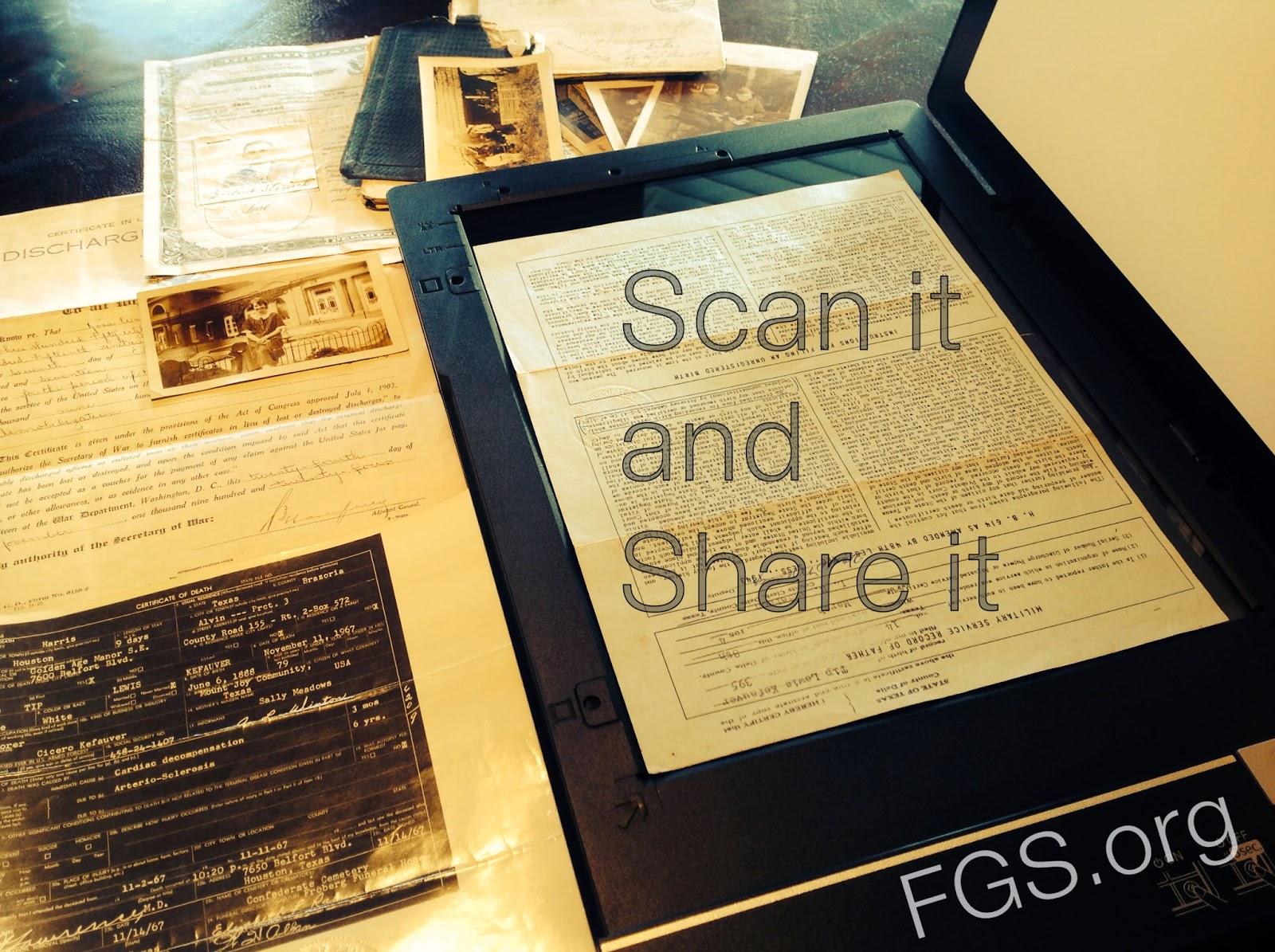 Scan It & Share It: Digitization Projects for Your Society via FGS.org. #genealogy #familyhistory #familytree #AmericanArchivesMonth #FamilyHistoryMonth