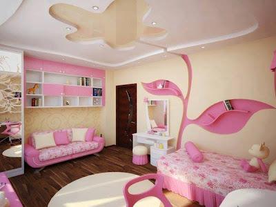dormitorio niña techo falso