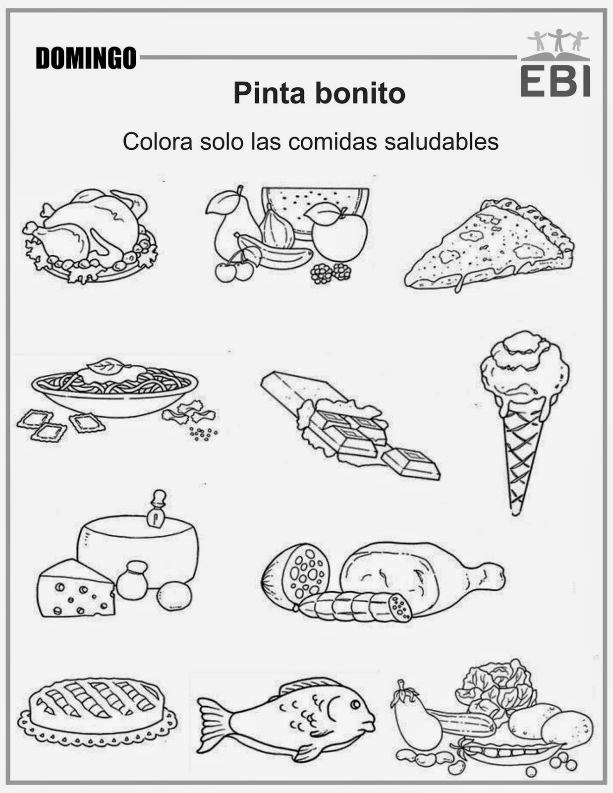 Contemporáneo Alimentos Saludables Para Colorear Ornamento - Dibujos ...