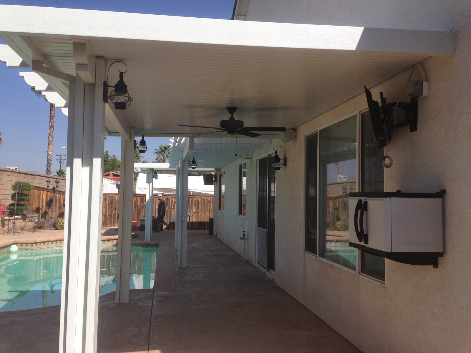 Alumawoodproducts september 2014 this patio also has 6 post lights 2 fans and 2 tvs with outlets this patio just made this backyard into a paradise workwithnaturefo