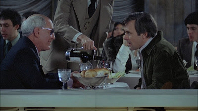Burgess Meredith as Ben Greene, Anthony hopkins as Corky, Restaurant Scene prior to Corky's sudden disappearance, Magic, Directed by Richard Attenborough