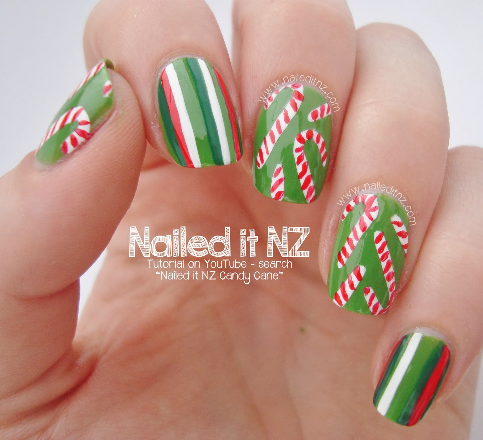 Christmas Nail Designs Tutorial: Christmas Candy Nail Art Tutorial