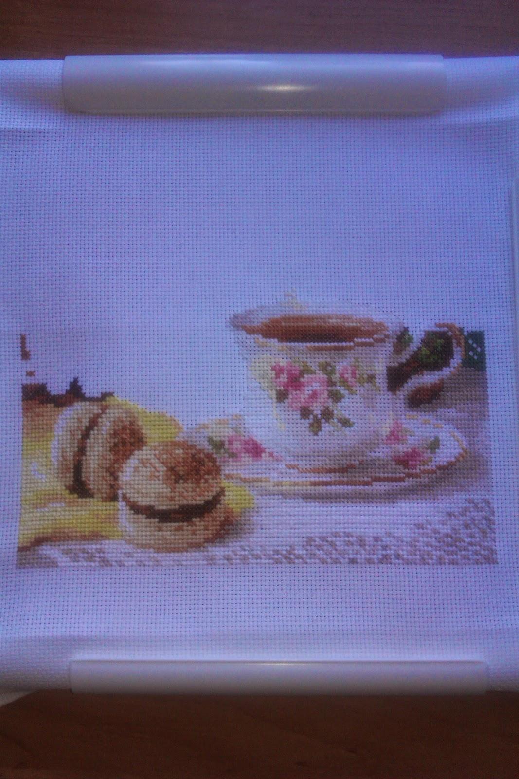 Вышивка утренний чай 17