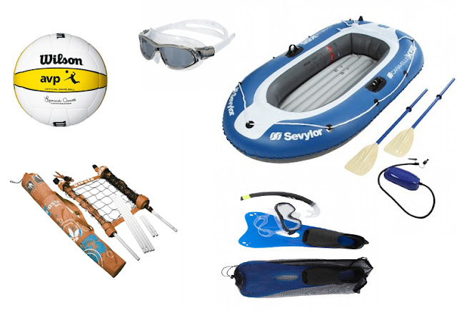 Kit para playa o piscina (balón voley-playa, gafas para nadar, barca hinchable, kit snorkel)