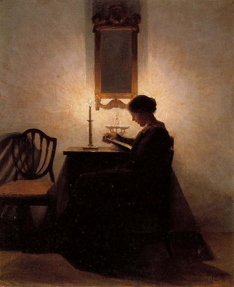 Peter Ilsted. Woman Reading by Candlelight, 1908