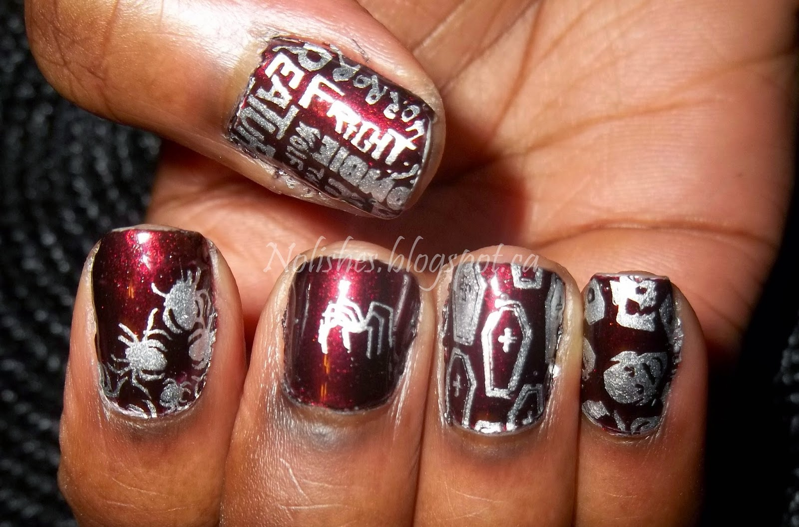 Burgundy and Silver Halloween Nail Stamping Manicure using Revlon 'Divine', Sally Hansen 'Silver Sweep', and Messy Mansion Plate MM11