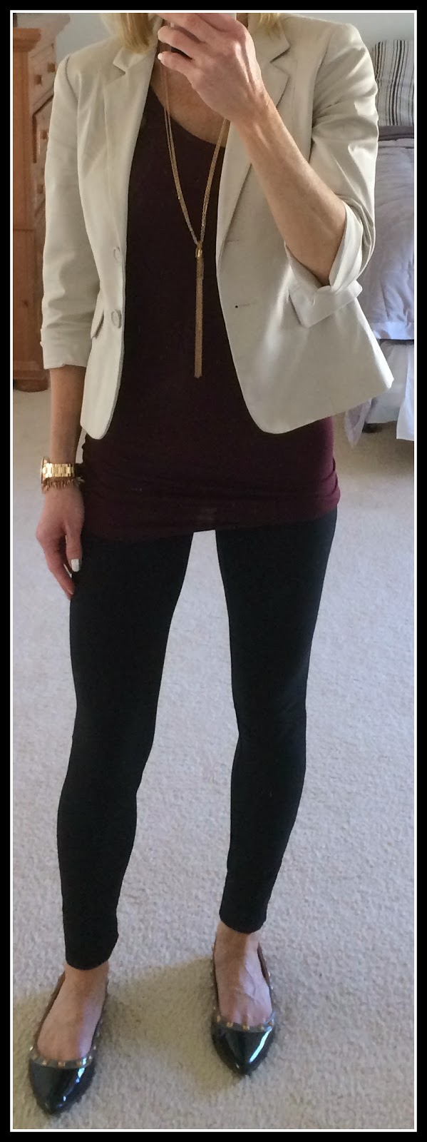 Express tan blazer, sexy stretch leggings, Target tunic cami, Fossil rose gold watch, Forever 21 tassel necklace, C Label Hudson flats