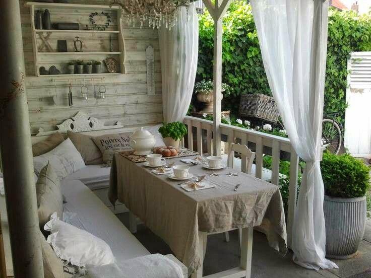 Moois en liefs tuin en veranda - Gordijnen voor overdekt terras ...