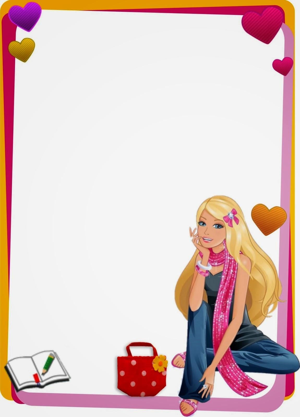 caratula para cuadernos barbie