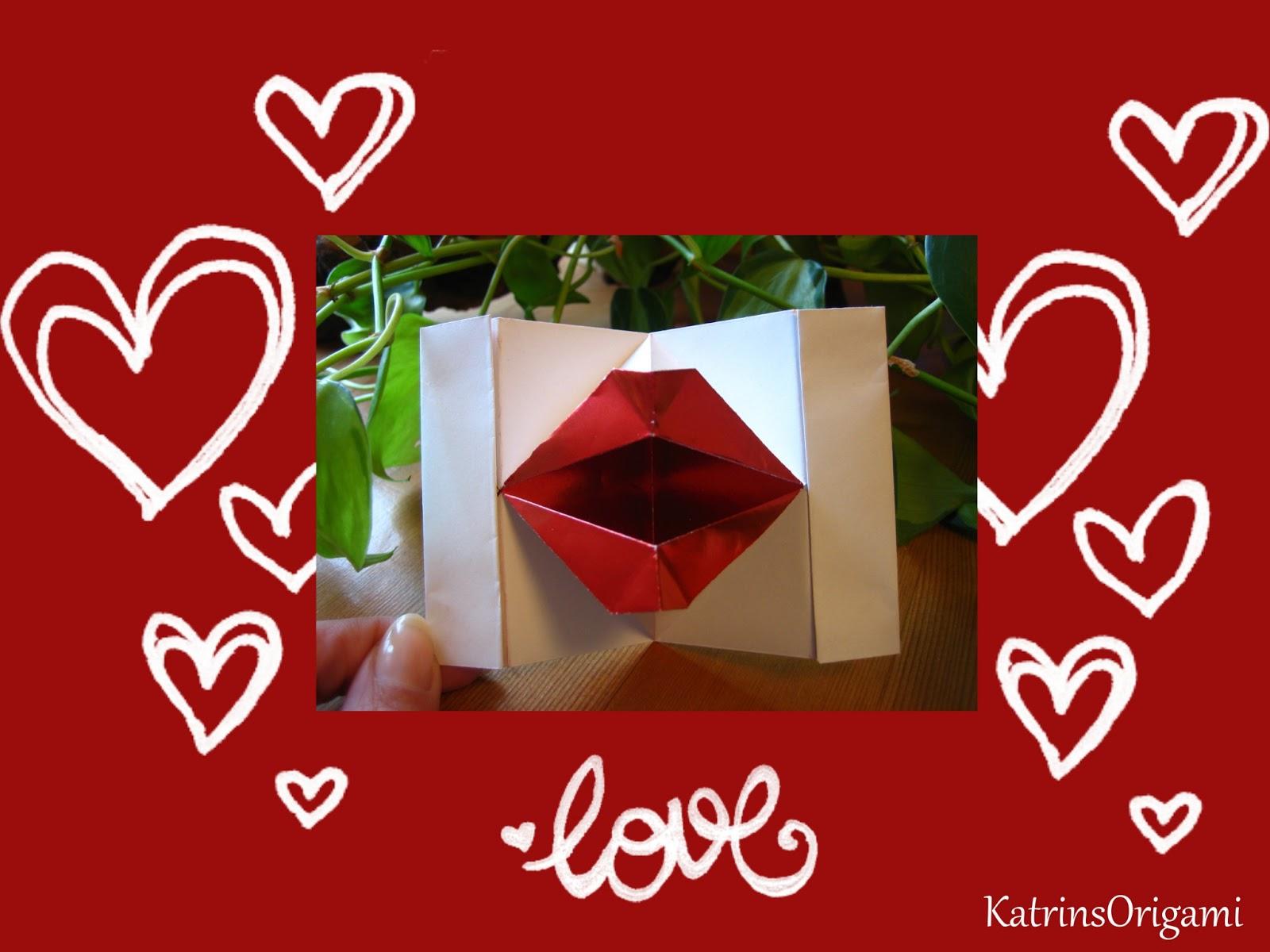 origami die kunst des papierfaltens origami kissing lips. Black Bedroom Furniture Sets. Home Design Ideas