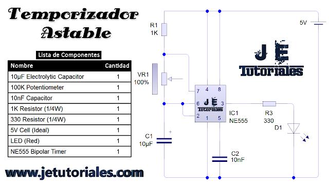 Temporizador Astable con 555 - VideoTutorial - Electrónica